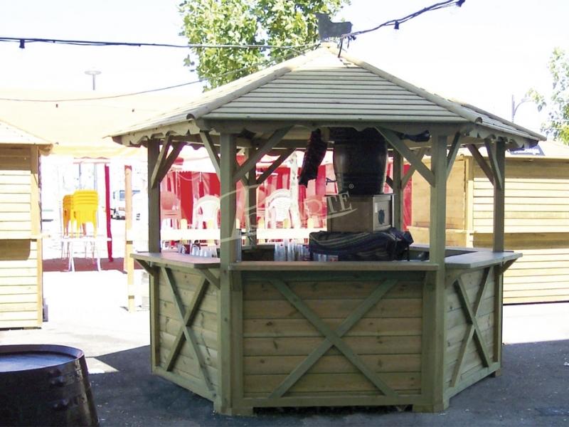 E mobiliario kiosco bar hexagonal for Kiosco bar madera