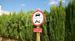 Traffic sign printed on synthetic resins